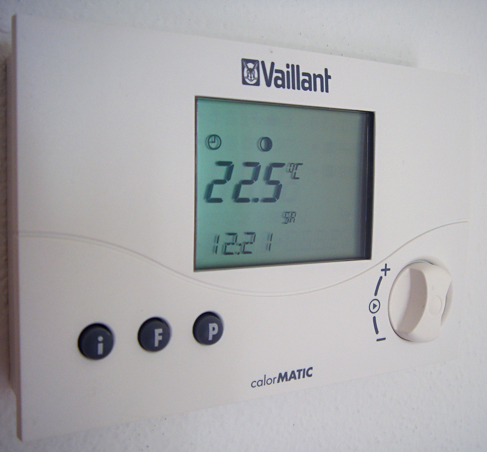 Digital thermostat in the living room