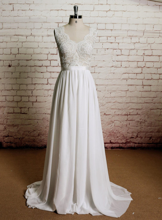 Charming A-Line V-Neck Floor-Length Sleeveless Lace Ivory Wedding Dress (11341394)